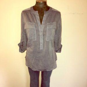 Trina Turk Silk Blend V-Neck Tunic Blouse